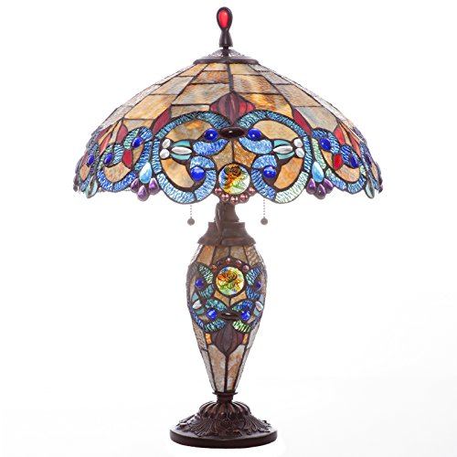 - River of Goods 9901 Stained Glass Victorian Style Double Lit Table Lamp, 26