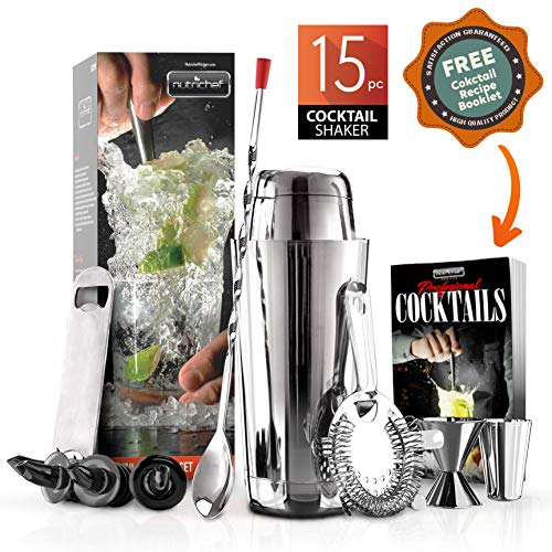 NutriChef Mixology Bartender Cocktail Shaker Set - 15 & 30 oz Stainless Steel Cocktail Bar Set Mix Drink Shaker Kit - Essentials Martini Making Kit Drink Mixing Starter Set - NCCS15PC (15 Piece Set)