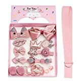 18pcs Toddler Girl Hair Clips Baby Kids Bowknot Barrette Hair Band Birthday Gift (Deep Pink)