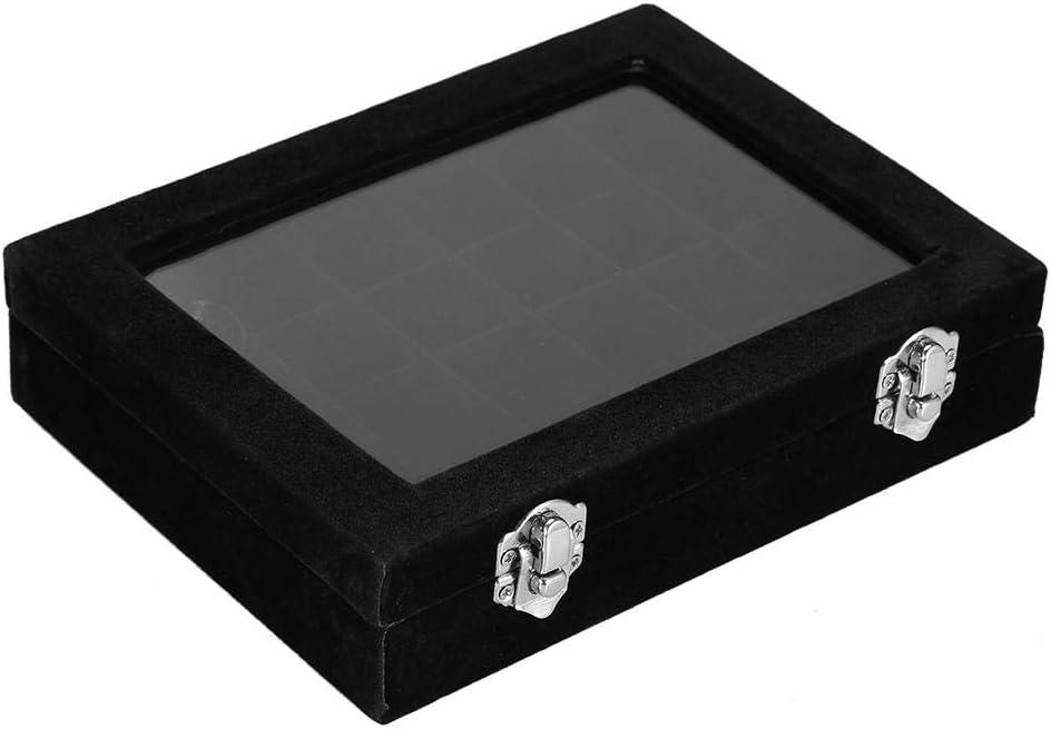 organisateur dongle Art Decoartion HURRISE Bo/îte de rangement pour bijoux pour anneaux de rangement Boucles doreilles en perles de rh/étonone 24Grids Flanelle de haute qualit/é Aucun