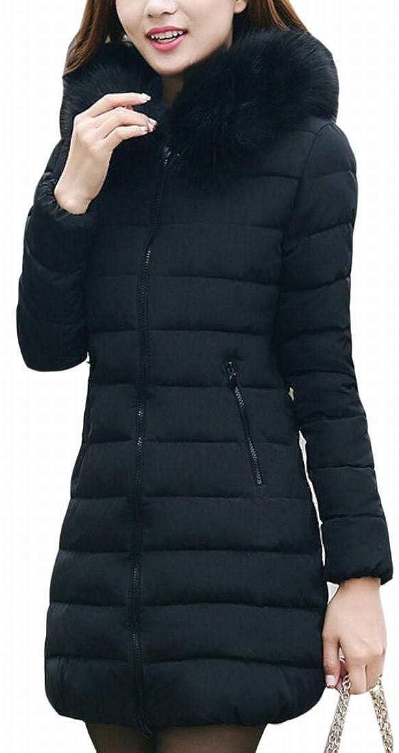 Alion Womens Casual Faux Fur Hoodies Front Zipper Down Padded Coat Outwear