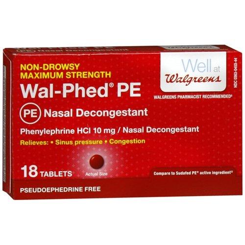 Walgreens Wal-Phed PE Nasal Decongestant Tablets, 18 ea