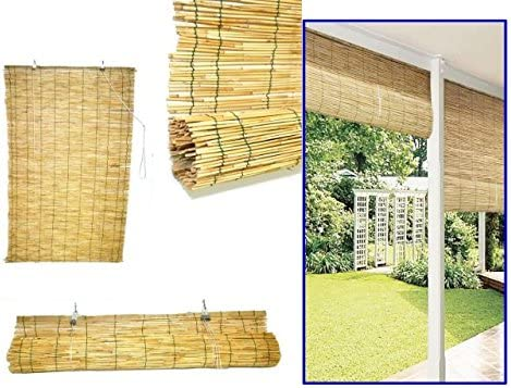 ZK Arella ombreggiante de cañas de bambú c/Polea Dim. cm.120 x 260: Amazon.es: Jardín