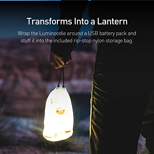 Luminoodle – The Original LED Light Rope for Camping – 5ft Waterproof USB Powered LED String Lights + Lantern for Hiking, Safety, Emergencies