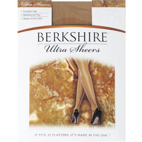 Sheer Berkshire Pantyhose (Berkshire Women's Ultra Sheer Control Top Pantyhose 4419 - Reinforced Toe, Fantasy Black, 4)