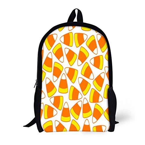 Pinbeam Backpack Travel Daypack Colorful Halloween Party Candy Corn Ornamental Pattern Waterproof School -