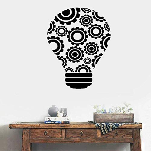 Vinyl Removable Wall Stickers Mural Decal Light Bulb Idea Teamwork Gears for Office ()