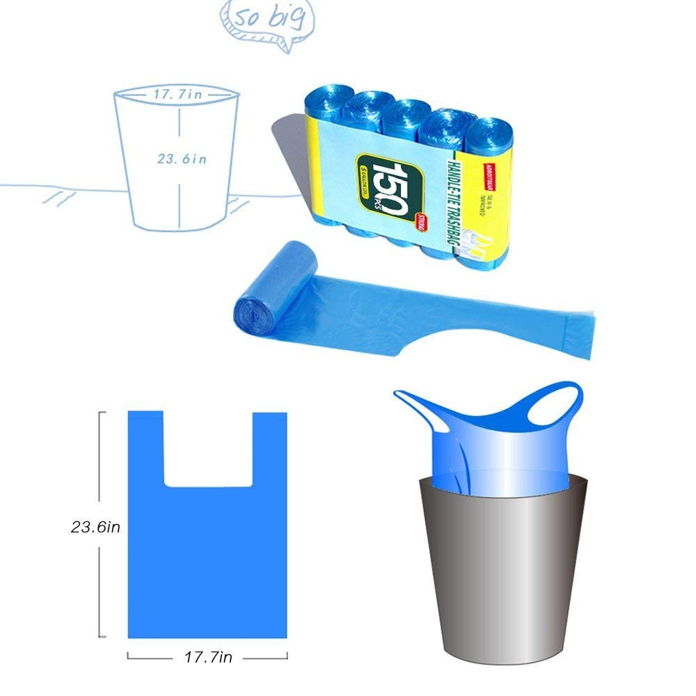 Trash Bags Adroitbear 5 Gallon Kitchen Trash Bags Strong Material Small Size 17.7 x 23.6 Inch for Office Home Waste Bin 150 Counts (Blue -1) by Adroitbear (Image #4)