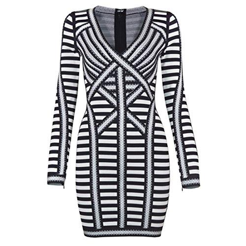 Damen weiß XS Weiß Schwarz Kleid HLBCBG fdt7wqq