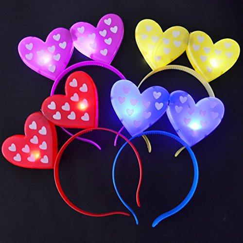 Mammoth Sales 12 PC Light up LED Flashing Hearts Heart Headband Costume Valentine's Day -