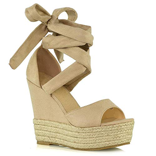 - ESSEX GLAM Womens Lace Up Wedge Sandals Ladies Nude Faux Suede High Heel Platform Strappy Peeptoe Woven Summer Evening Shoes Size 5 B(M) US