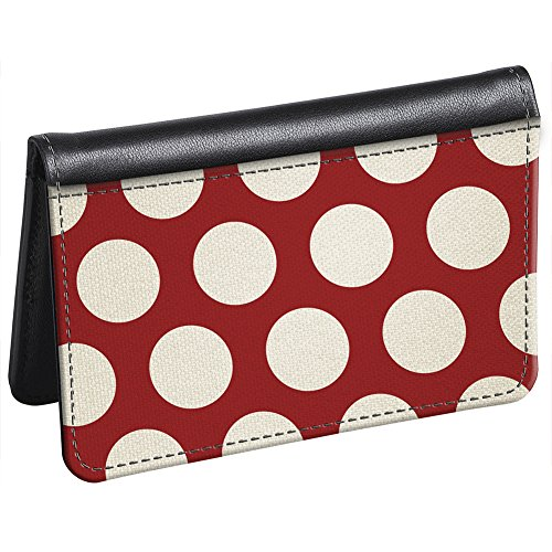 Snaptotes Slim Leather Accent Red Polka Dot ID Card Wallet