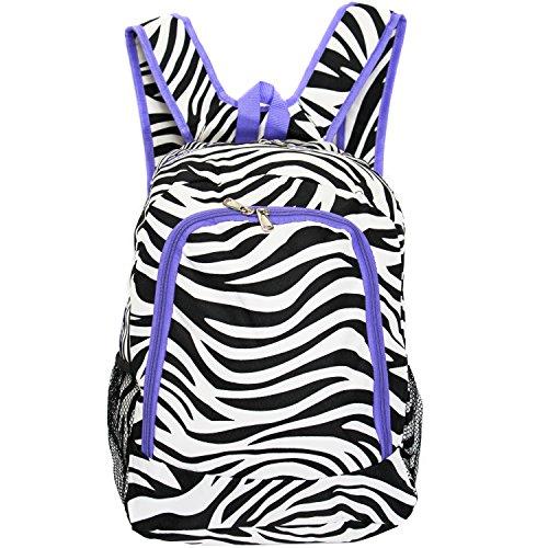 World Traveler Multipurpose Backpack 16-Inch, Light Purple Trim Zebra, One Size