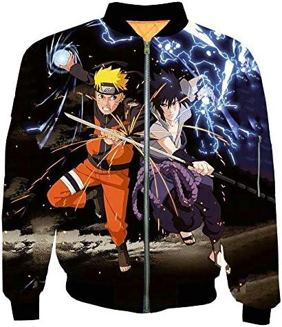 Spricen Naruto Anime Giacca Bomber Jacket Uomo Cosplay Felpa Cardigan Cappotto Bomber Jacket 2XL
