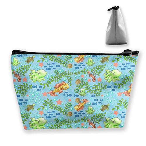 Makeup Bag Cosmetic Fish Leaves Water Portable Cosmetic Bag Mobile Trapezoidal Storage Bag Travel Bags with Zipper]()