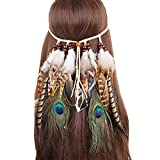 Neal LINK Women Indian Feather Fascinator Hairband Hemp Rope Bohemian Tassels Festival (Feather Green)