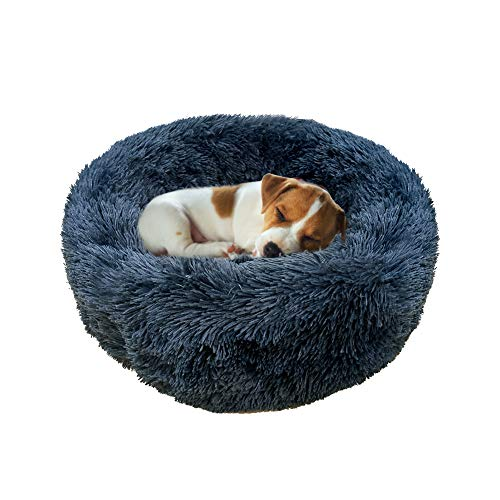 Pasking Plush Round Pet Bed for Small Dogs Cats, Faux Fur Dog Beds Washable Cat Calming Bed Donut Cuddler Self Warming Indoor Grey