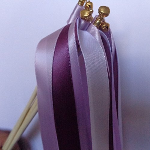 Streamer ribbon amazon teasun european style wedding favor streamer ribbon wands with jingle bellpack of 30purple solutioingenieria Gallery