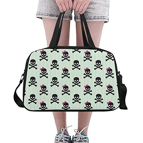 Tote Bags Skull And Toxic Sign Custom Fitness Coach Lightweight Duffel Duffle Bag Luggage For Adult Dancer Workout Run School Bag Duffel With Shoe Pounch