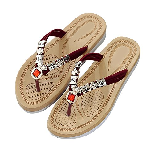 zapatillas verano playa zapatillas Sandalias mujer de de Yeshi para rojo wf0qXAAT