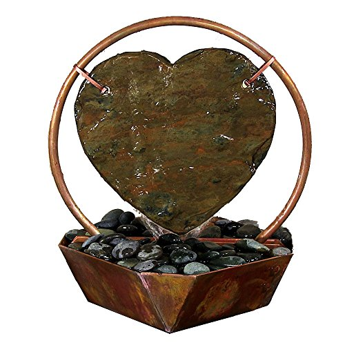 Copper Slate Fountain (Sunnydaze Heart Tabletop Fountain, Copper, 15 Inch)