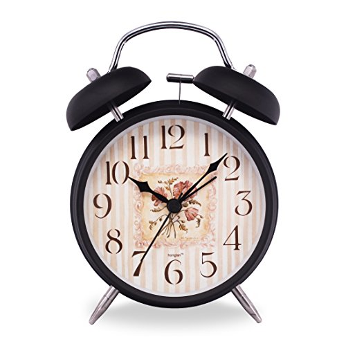 Slash 4 Vintage Retro Old Fashioned Quiet Non-ticking Sweep Second Hand, Quartz Analog Twin Bell Clock, Battery Operated, Loud Alarm, Nightlight Function (Black Case - Flower Mural)