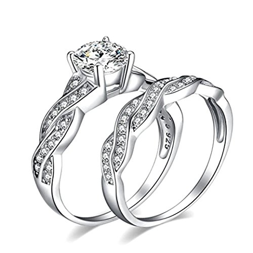 Challyhope Fashion Platinum Plated Double Ring Anniversary Promise Wedding Band Engagement Ring Bridal Sets Love Ring (Silver, (Platinum Roses Anniversary Rings)