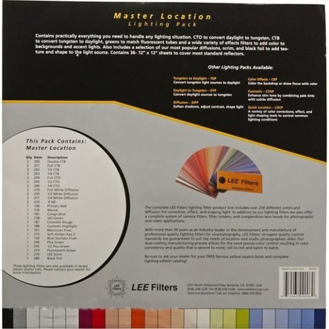 Lee Filters Master Location Pack, 36 Sheet Pack of Pre-cut 10 x 12 inches for Color Correcting, Light Shaping Tools & Color Effects Lighting Filters by Lee