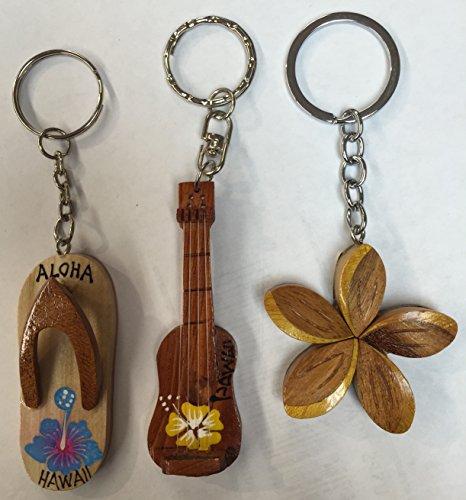 Tiki Wooden Key Chain Plumeria Ukulele Slipper Designs set of ()