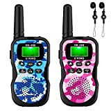 【2019 Model】 U'King Kids Walkie Talkies,4 Miles Range Walkie Talkies for Kids 10 Customized Ringtones with Flashlight for Outdoors Good Parenting Toys - 2 Packs (Blue&Pink)