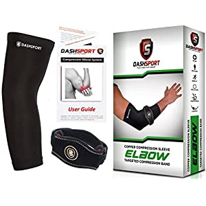 Copper Tennis Elbow Brace – Copper Compression Elbow Sleeve. Original Elbow System for Complete Support and Pain Relief from Golfer and Tennis Elbow