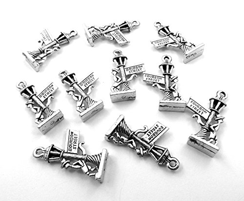 (Gold Chest Jewelers Set of Ten (10) Silver Tone Pewter Bourbon Street Sign Charms)