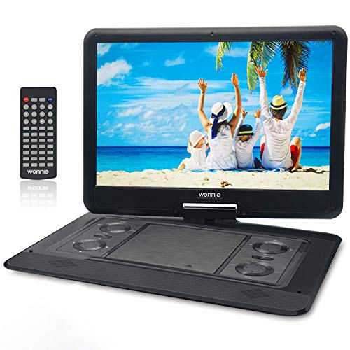 WONNIE 17.9'' Large Portable DVD/CD Player with 15.6 Swivel Screen, 1366x768 HD LCD TFT, GAMES/USB/SD Card Readers, Built-in Double Rechargeable Battery, Stereo Sound, Regions Free, AV Out & In (Best Blu Ray Player 2019)