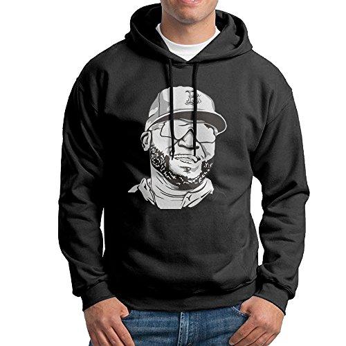 PHOEB Mens Sportswear Drawstring Hooded Sweatshirt,Big Papi Baseball Player Black Medium