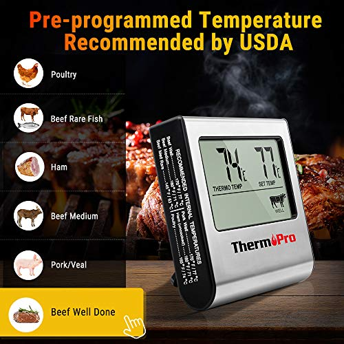 ThermoPro TP-16 Large LCD Digital Cooking Food Meat Thermometer for Smoker Oven Kitchen BBQ Grill Thermometer Clock Timer with Stainless Steel Temperature Probe