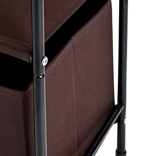 Large Product Image of Closet Organizer, MaidMAX 3-Tier Clothes Drawer Shelf Closet Storage Rack Organizer Shelves with 2 Collapsible Bins, Brown