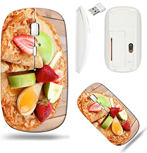 (Liili Wireless Mouse White Base Travel 2.4G Wireless Mice with USB Receiver, Click with 1000 DPI for notebook, pc, laptop, computer, mac book baked and fruits pancake with honey strawberries)
