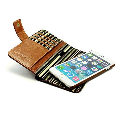 Alston Craig Tec E-scape Echtleder Geldbörse und hülle Portemonnaie einem im Vintage Look, mit magnetischer Halterung und (RFID-Ausleseschutz für Ihre Karten) - für iPhone 8 Plus- Braun