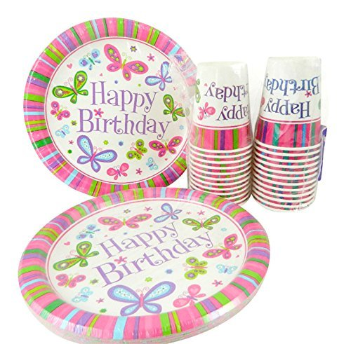 Happy Birthday Butterfly Girl Dinner Plates and Cups for 24