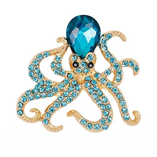 Alonea Octopus Brooch, Women Crystal Diamond Dragonfly Brooch Retro Copper Brooches Collar (Blue ❤️) - Diamond Dragonfly Brooch