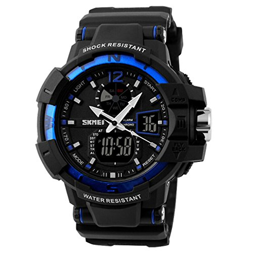 Fanmis Multifunction Waterproof Digital LCD Alarm Date Mens Military S-Shock Sports LED Wrist Watches - Blue