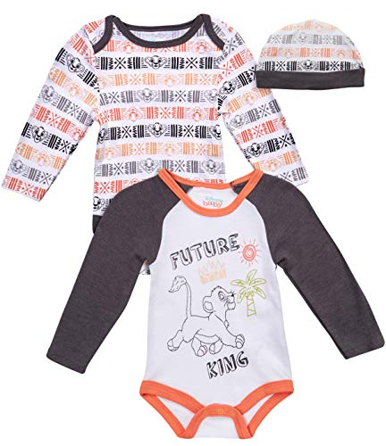 Disney Baby Boys Newborn Long Sleeve Bodysuits (2 Pack) with Fun Character Hat, Size 3-6 Months, White Lion King' (La Kings Clothing)