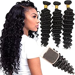 VRHOT 8A Brazilian Hair Bundles Deep Wave with Closure Virgin Hair Weave Human Hair Extensions Unprocessed Natural Color 3 Hair Bundles Free Part Lace Cosure 4x4 (16'' 18'' 20'' with 14'' Closure)
