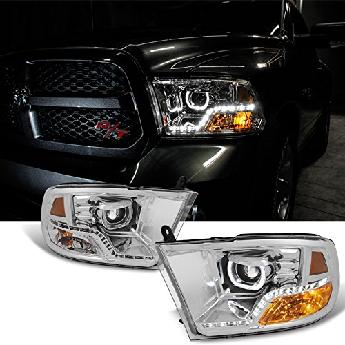 [Angel Eye] 2009-2016 Dodge Ram 1500 2500 3500 Halo LED Projector Diamond Chrome Headlights Headlamp Diamond Style Headlight
