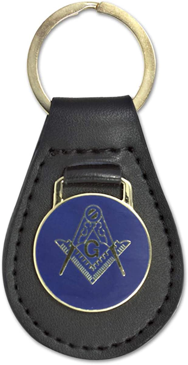 Square & Compass Black Leather Medallion Masonic Key Chain - [Blue & Gold][3 1/8'' Tall]