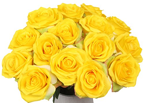 Artificial Flowers AmyHomie Silk Roses Bouquet Home Wedding Decoration Pack of 15 (Yellow Bouquet Rose)