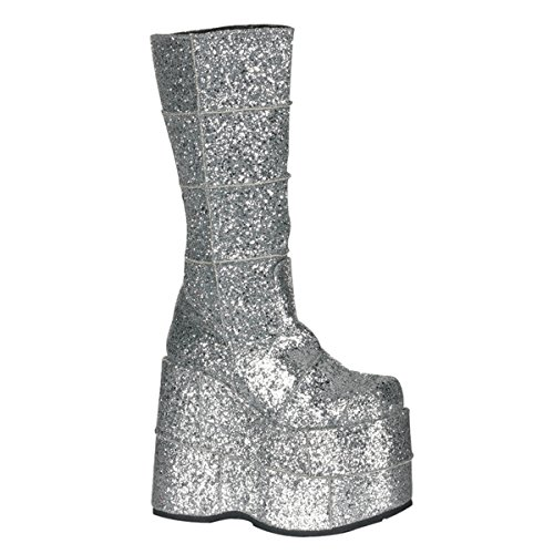 Pleaser Men's Stack-301 Platform Boot,Silver Glitter,8 M US