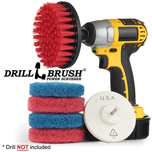 Drill Brush - Cleaning Supplies - Indoor - Bathroom Accessories - Tile - Grout Cleaner - Shower Cleaner - Bathtub - Bath Mat - Scrub Brush - Porcelain - Outdoor - Garden - Patio - Deck Brush - Granite
