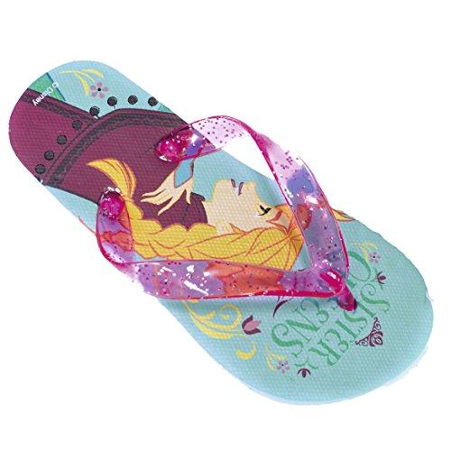 Disney Frozen Official Mädchen Cartoon Printed Pool Beach Summer Flip Flops Blau