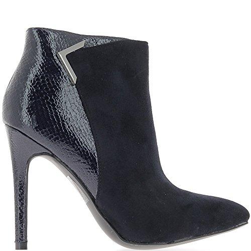 ChaussMoi Stivali donna blu tacco 11cm materiale bi